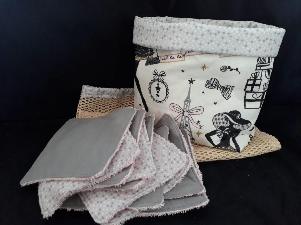 Kit de lingette lavable- création fait main à l'atelier Les P'tites Pomm's